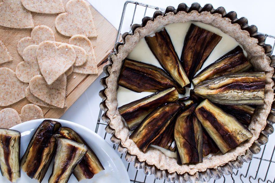 Auberginepie - den lækreste vegetariske pie med champignons