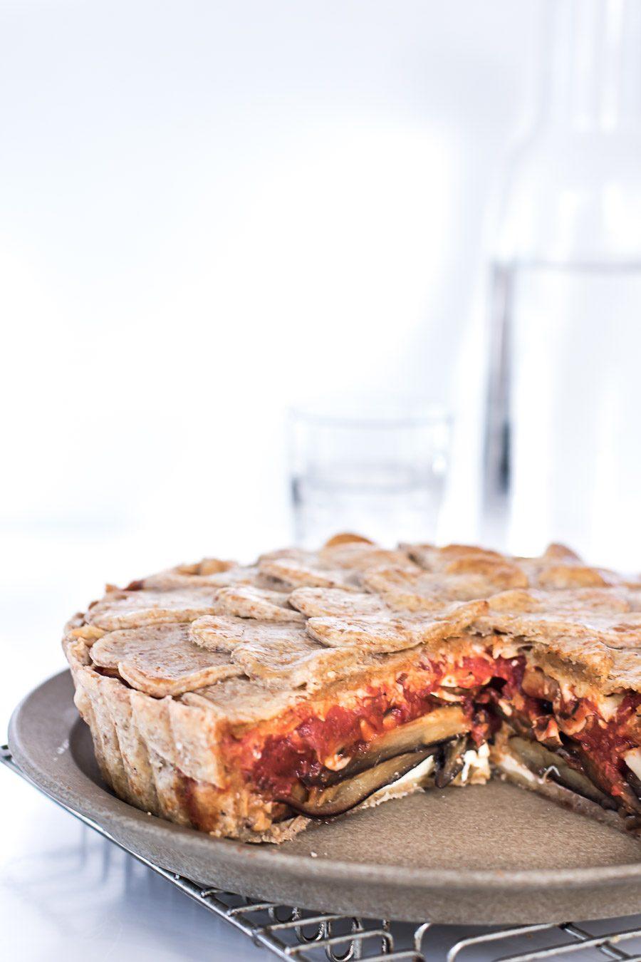 Auberginepie - lækker vegetarisk pie med champignons