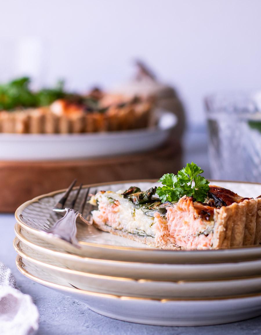 Magisk laksetærte med hytteost og spinat