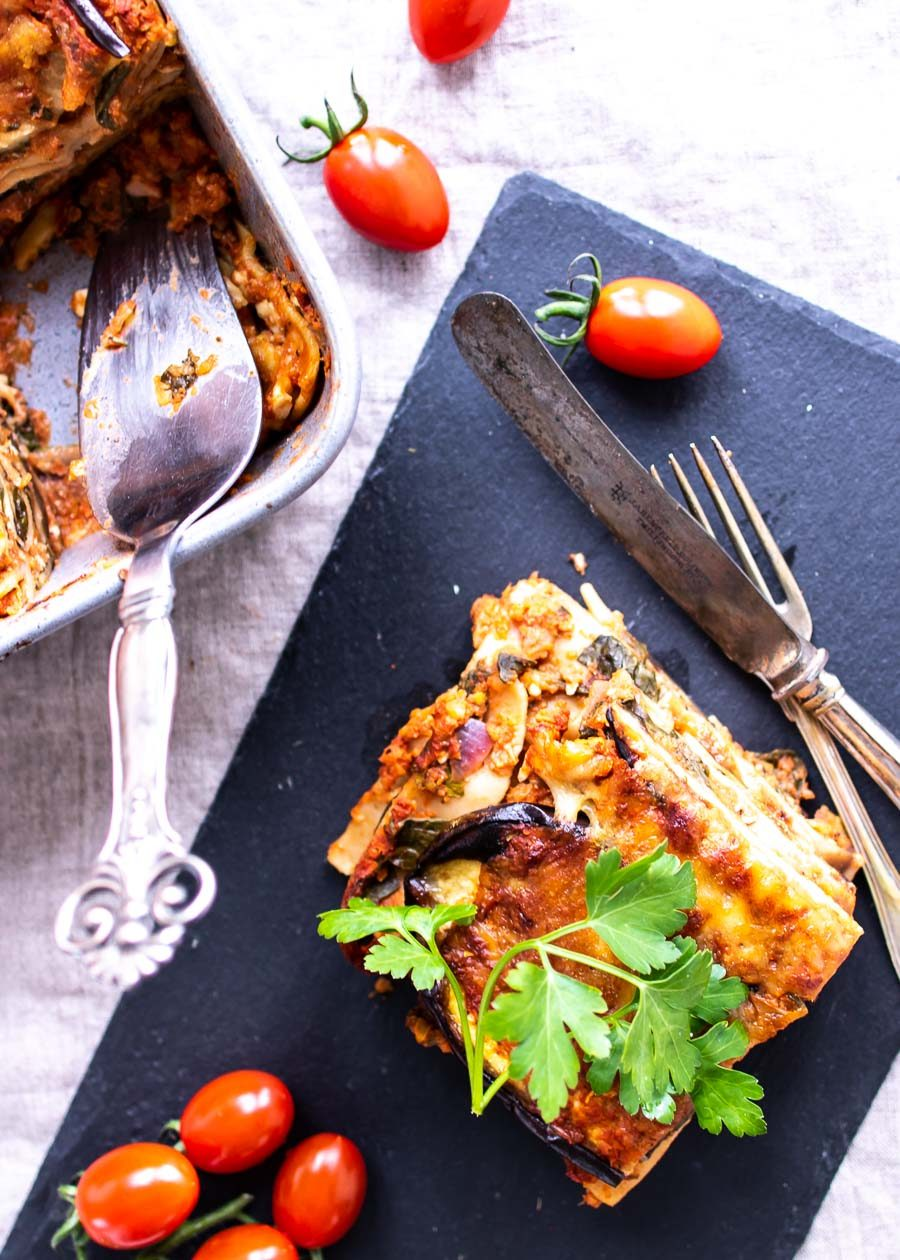 Muttis grønne lasagne – vegetarisk lasagne med aubergine