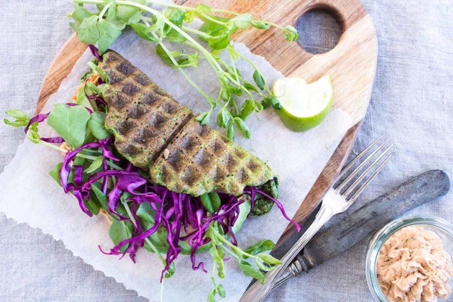 Spinatvafler med havregryn - sunde vafler med spinat