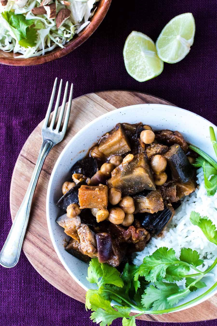 Vegetarisk tikka masala med aubergine