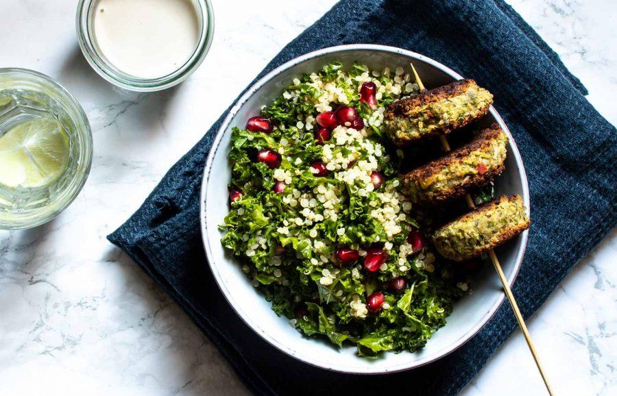 Veggiedeller med kikærter og halloumi - hurtige vegetardeller
