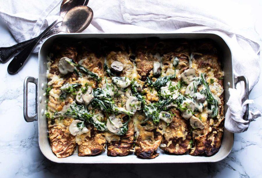 Fyldte pandekager med spinat og svampe